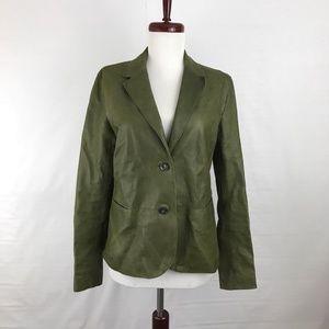Vince Green Leather Jacket Blazer 8